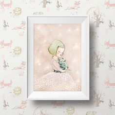 Art Poster Print Childrens Wall Art Print - Girl with cat, Portrait Print, Poster. by holli on Etsy https://www.etsy.com/listing/197196503/art-poster-print-childrens-wall-art