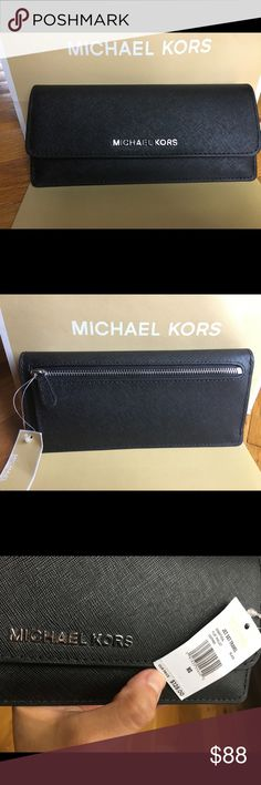 🍀Michael Kors Flat Black Wallet🍀 Michael Kors Flat Wallet   Color: black/ silver hardware  Coin pocket on the outside 8 credit card slots Brand new with tags, care instruxtions and gift box  No lowball offer please/ no trade  Please ask all questions before buying Michael Kors Bags Wallets
