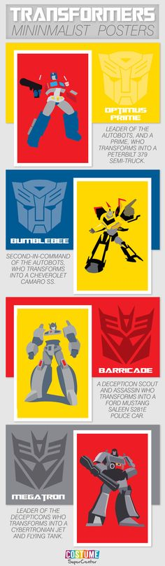 These #Transformers minimalist posters will take you back to the time you played with them as kids. Optimus and Bumblebee rep the Autobots while Megatron and Barricade do the same for the Decepticons.