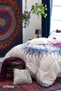 As your one-stop shop for all things dorm, JCPenney makes it easy and affordable to create the room of her dreams. Start with a bedding set like the Olivia collection (shown), then mix in coordinating wall and desk decor. A floor rug accented with a cozy throw and plush study pillows gives the right vibe for study or hang time. And don't forget the soundtrack: our retro Crosley turntable is a mood-boosting must! Get it all in store and at jcp.com. Dream Bedroom, Home Bedroom, Girls Bedroom, Bedroom Decor, Dorm Furniture, Apartment Essentials, Dorm Bedding, Beautiful Bedrooms, New Room