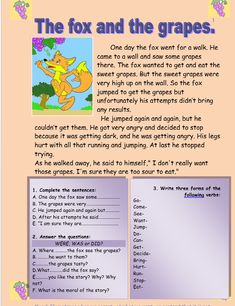 The fox and the grapes Reading Comprehension :http://myreadingkids.com/fox-grapes-reading-comprehension/