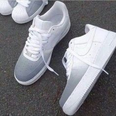 Grey/white ombre Nike Air Force 1s