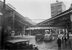 Chatham Square intersection in the Five Points neighborhood and Chinatown and Third Avenue IRT (elevated subway) station, c. 1935-1941