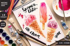 Watercolor ice cream set by katya.bogina on @creativemarket