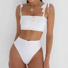 Hot beach products 10% off! shoulder tie bikini high waisted bathing suits all white high waist swimsuit tummy control #style#swimsuits