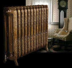 Antique Radiador   Antique cast iron radiator Gold paint effect on Oxford radiator