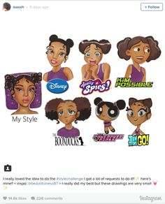 Cartoon Drawings people do self-portraits in different styles-article of black women self-portraits in cartoon styles. - By now, you've probably noticed a ton of these Black Girl Cartoon, Black Girl Art, Black Women Art, Art Girl, Cool Art Drawings, Cartoon Drawings, Cartoon Art, Art Style Challenge, Drawing Challenge
