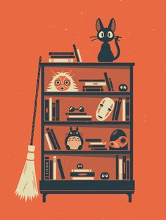 danielmackeyy:  GHIBLI SHELFThere is a book shelf in my room with books, games and toys which is where this idea started. I thought it would be fun to make a Ghibli themed illustration.I've always wanted to do something involving Miyazaki's work but I always seemed to find myself hitting a block and putting it aside. I wanted to finish something so this is the result.
