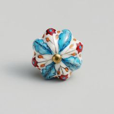 Blue and Red Floral Ceramic Knobs, Set of 2........these would be cute on one of the dressers