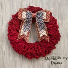 Red Patriotic Burlap Wreath 4th of July Wreath by DesignsByDanaC