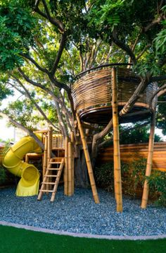 37 Kids Treehouse Design Ideas | Sebring Design Build Backyard Treehouse, Treehouse Ideas, Building A Treehouse, Bamboo Architecture, Types Of Architecture, Tree House Plans, Cool Tree Houses, Tree House Designs, Bamboo Tree