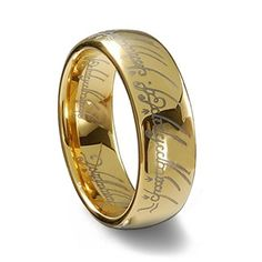 """Wedding ring: The elvish engraving says """"One ring to show our love, one ring to bind us, one ring to seal our love and forever entwine us."""""""