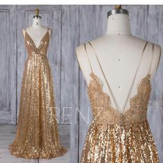 Bridesmaid Dress Gold Sequin Dress Lace Boho Wedding Dress V Neck Backless Weddi. - Bridesmaid Dress Gold Sequin Dress Lace Boho Wedding Dress V Neck Backless Wedding Gown Sequin Wedding, Backless Wedding, Boho Wedding Dress, Wedding Gowns, Gold Wedding Dresses, Party Wedding, Wedding Ceremony, Gold Sequin Dress, Lace Dress
