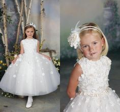 2015 New Arrival Cute Girl Pageant Dress White Handmade Flowers Ball Gown Kid Prom Party Gown Ankle-Length Flower Girl Dress For Wedding #dhgatePin