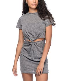 Transform your summer dress look with this Dina Knot charcoal front knot dress from Lunachix. Two side slits come together in the middle torso with a cute knot tie. The super soft jersey material will keep you cool and comfortable all summer long.