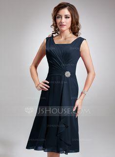 A-Line/Princess Square Neckline Knee-Length Chiffon Bridesmaid Dress With Crystal Brooch Cascading Ruffles (007001893) - JJsHouse