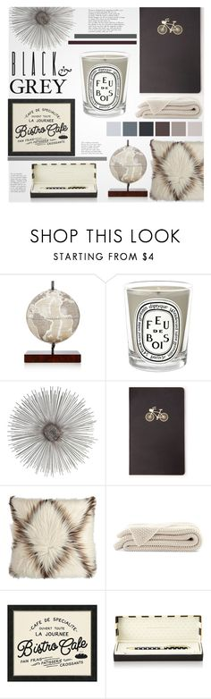 """""""Black & Grey Decor"""" by littledesigns ❤ liked on Polyvore featuring interior, interiors, interior design, home, home decor, interior decorating, Zoffoli, Diptyque, Forever 21 and Pottery Barn"""