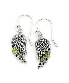 Love this Green Peridot & Sterling Silver Wing Drop Earrings on #zulily! #zulilyfinds