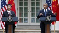 Los presidentes Xi Jinping, de China Popular, y Barack Obama, de Estados Unidos, durante el anuncio, en la Casa Blanca, de que el gigante asiatico acepta pograma de control de emisiones.