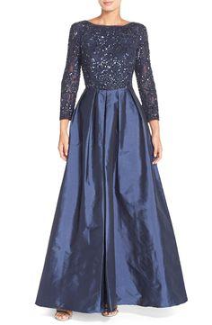 Aidan Mattox Embellished Lace & Taffeta Gown