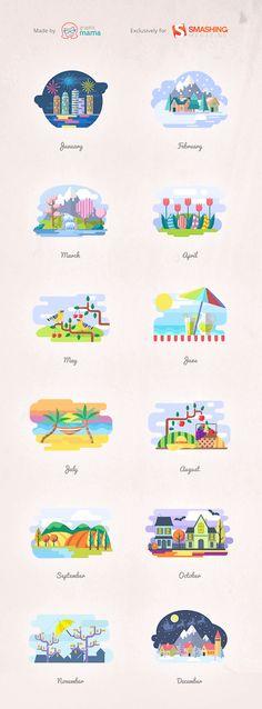 12 Colorful Months And Seasons Illustrations [Freebie] – Smashing Magazine
