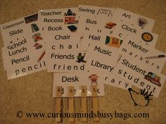 School Word Busy Bag (learning activity) for Language development. $4.00, via Etsy.