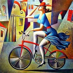 Georgy Kurasov (b. 1958, Russian Cubist Painter) – Girl on a Bicycle – – – Albertine, … at Balbec, incessantly in flight upon her bicycle, never to be found owing to the number of little watering-places where she would go to spend the night with her girl friends and where moreover her untruths made it more difficult to lay hands upon her… – Marcel Proust: In Search of Lost Time