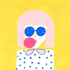 bubble gum girl with pink hair illustration