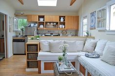 400 sq ft Whitney's Live/Work Canal Cottage — House Call Garage Apartments, Tiny Apartments, Tiny Spaces, Tiny House Furniture, Home Decor Furniture, Built In Couch, Cubby Storage, Compact Living, Home Design Plans