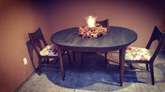 Mid-Century Modern table and chair set all ready for Thanksgiving!  Just finished!