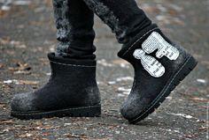 """Купить Авторские ботинки """"FI"""". Коллекция """"Graffiti"""". - темно-серый, черный, серый, графитовый, ботинки"""