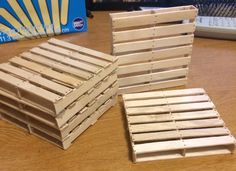 "Pallet coasters out of Popsicle sticks! ""Nails"" are just spots drown with a marker. From Reddit user: http://www.reddit.com/user/weber_4"