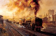 Trains from Alan Fearnley Steam Art, Old Steam Train, Railroad History, Steam Railway, Train Art, British Rail, Art Uk, Steam Engine, Steam Locomotive