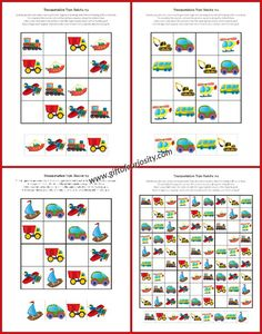 Free printable Transportation Toys Sudoku puzzles for kids who love…