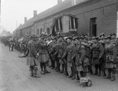 Roll Call of the 1st Battalion, Black Watch (Royal Highlander Regiment) outside their billets, Lapugnoy, 10th April 1918