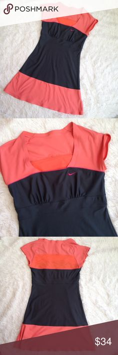 """Nike Fit Dry Dri Fit Short Sleeve Tennis Dress Nike Fit Dry Mesh short sleeve Tennis Dress. Color: grey/peach. Features A line cut, square neckline, back mesh panel. Genty used condition with no flaws. Size S, fits 4-6. Measurements taken laid flat and approximate: Length 32"""", Bust 15"""". Nike Dresses"""