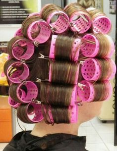 pink rollers, wound very tight, make him feel more girly