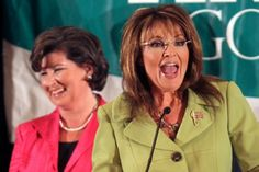 """Karen Handel, senior VP of public policy at Komen, and Sarah Palin - August 2010. During the Sarah Palin-endorsed, Tea Party favorite's 2010 campaign for governor of Georgia, Handel declared, """"I do not support the mission of Planned Parenthood.""""   Handel also retweeted (and quickly removed) this tweet by Jade Morey: """"Just like a pro-abortion group to turn a cancer orgs decision into a political bomb to throw. Cry me a freaking river."""" #GoFuckYourself"""