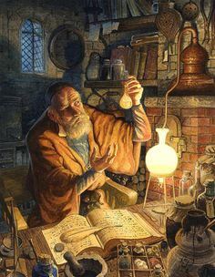 The Alchemist by Chris Dunn (Signed Limited Edition Giclee Print) - An Alchemist works hard in his study late into the night