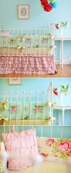 baby girl bedding    what I had in mind for Baby G's room here!  Lots of different colors to go with the Guest room incorporated <3