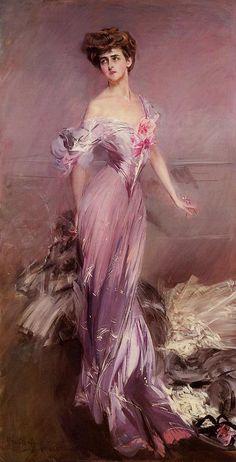 Portrait of Mrs. Howard-Johnston (Dolly Baird of Bunbarton) (Giovanni Boldini - 1906)