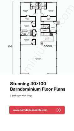 Barndominium's floor plan is one of the most important things one will come up with in the design process. Without having the right floor plan, none will be able to get everything they want from their barndo and this can defeat the whole purpose of the project. In this attached article, we have put together some amazing examples of a 40×100 barndominium floor plan to help get you inspired. You might even find the perfect floor plan here and from there on out, your work is done! Barndominium Floor Plans, Open Concept, Design Process, Flooring, How To Plan, Purpose, Inspired, Amazing, Barndominium Plans