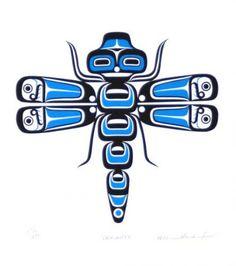 Wasden, William - Dragonfly - Pacific Northwest - 14 x 11 inches Native American Design, Native Design, American Indian Art, Inuit Kunst, Inuit Art, Arte Haida, Haida Art, Arte Tribal, Tribal Art