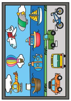 The Transportation Clip Art Set Preschool Learning Activities, Preschool Worksheets, Preschool Activities, Kids Learning, Transportation Theme Preschool, Special Needs Toys, Montessori Materials, Kids Education, Orchard Toys