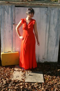 1960s TOMATO Red Mod Ruffled Glam by CerealVintageThrift on Etsy, $20.00