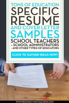 Lots of education resumes and cover letters for elementary teachers, high school teachers, principals, administrators media librarians, art teachers, physical education teachers, music teachers, special education teachers, college instructors. Examples of