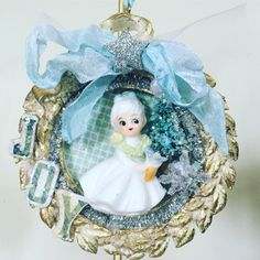 Shabby Chic Altered Art Christmas Holiday Ornament Decoration Gift Whimsical…