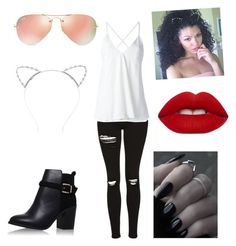 """""""I'm ready- Jasmyne"""" by thatbratjazzy ❤ liked on Polyvore featuring Topshop, Dondup, Ray-Ban, Lipsy and Lime Crime"""
