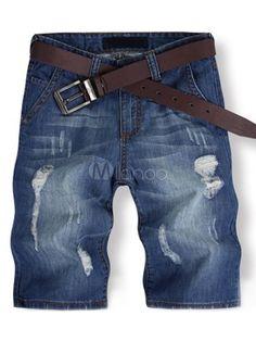 Cool Blue Distressed Denim Men's Shorts