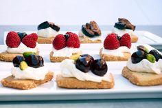"Fig & Olive ""crostini"" - strawberry, mascarpone, pistachio on shortbread with micro-basil"